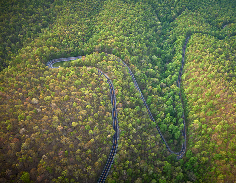 Aerial view of winding road